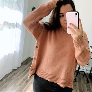 Madewell Brownstone Side Button Dusty Clay Sweater